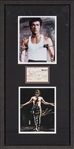 Bruce Lee Signed Receipt With Photo & Brandon Lee Photo In 16x32 Framed Display (Beckett)