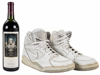 1991 Steven Seagal Cabernet Sauvignon Wine Bottle & Pair of Worn & Signed Nike Shoes (Beckett)