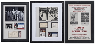 4 Boxing Greats - Dempsey, Tunney, Louis & Schmeling Signed Cuts In 2 Framed Displays & Framed Boxing Poster (PSA/DNA & JSA)