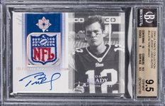 "2004 ""Ultimate Collection"" #ULSTB Tom Brady Game Jersey Logo Signed Card (#1/1) – BGS GEM MINT 9.5/BGS 10"