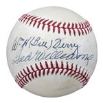 Ted Williams & Bill Terry Dual Signed OAL Brown Baseball (PSA/DNA)