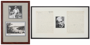 Lot of (2) Albert Schweitzer Signed Handwritten Letter & Post Card With Photos In Framed Displays (JSA)