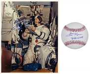 Lot of (2) Fred Haise Autographed and Apollo 13 Inscribed Official NASA 8x10 Photo and OML Baseball (Beckett)