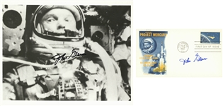 Lot of (2) John Glenn Autographed Official Nasa 8x10 Photo and First Day Issue Cachet (Beckett)