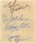 The Beatles Group Signed Cut With 4 Signatures: Lennon, McCartney, Starr & Harrison (Beckett)