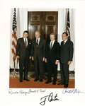 "Four Presidents Near-Mint Signed 8"" x 10"" Color Photograph w/ Reagan, Nixon, Carter & Ford! (Beckett)"
