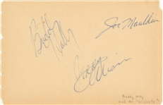 Buddy Holly And The Crickets Multi Signed Album Page With 3 Signatures (JSA)