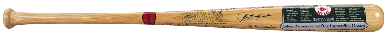 1967 Boston Red Sox Team Signed Cooperstown Silver Anniversary of the Impossible Dream Commemorative Bat with 26 Signatures (Doerr Family LOA & JSA)