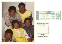 1984 Michael Jackson Signed 8x10 Photo With Pepsi Commercial Ticket & VIP Pass (Beckett & Letter Of Provenance)
