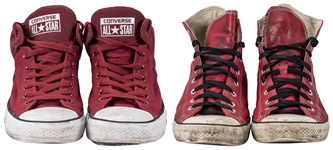 Lot of (2) Daisy Berkowitz Personally Owned & Worn Pairs of Red Converse Sneakers (Family LOA)