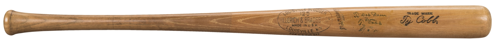 1951 Ty Cobb Signed Hillerich & Bradsby C28 Model Bat Inscribed to Bob Doerr- The Letter that Accompanied this bat is in BB Hall of Fame! (Doerr Family LOA & JSA)