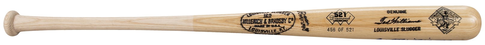 Ted Williams Signed Hillerich & Bradsby 521 Diamond Club Commemorative Bat -LE 456/521 (Doerr Family LOA & JSA)