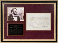 1862 Abraham Lincoln Signed Official Document in 32x24 Frame Display (PSA/DNA MINT 9)