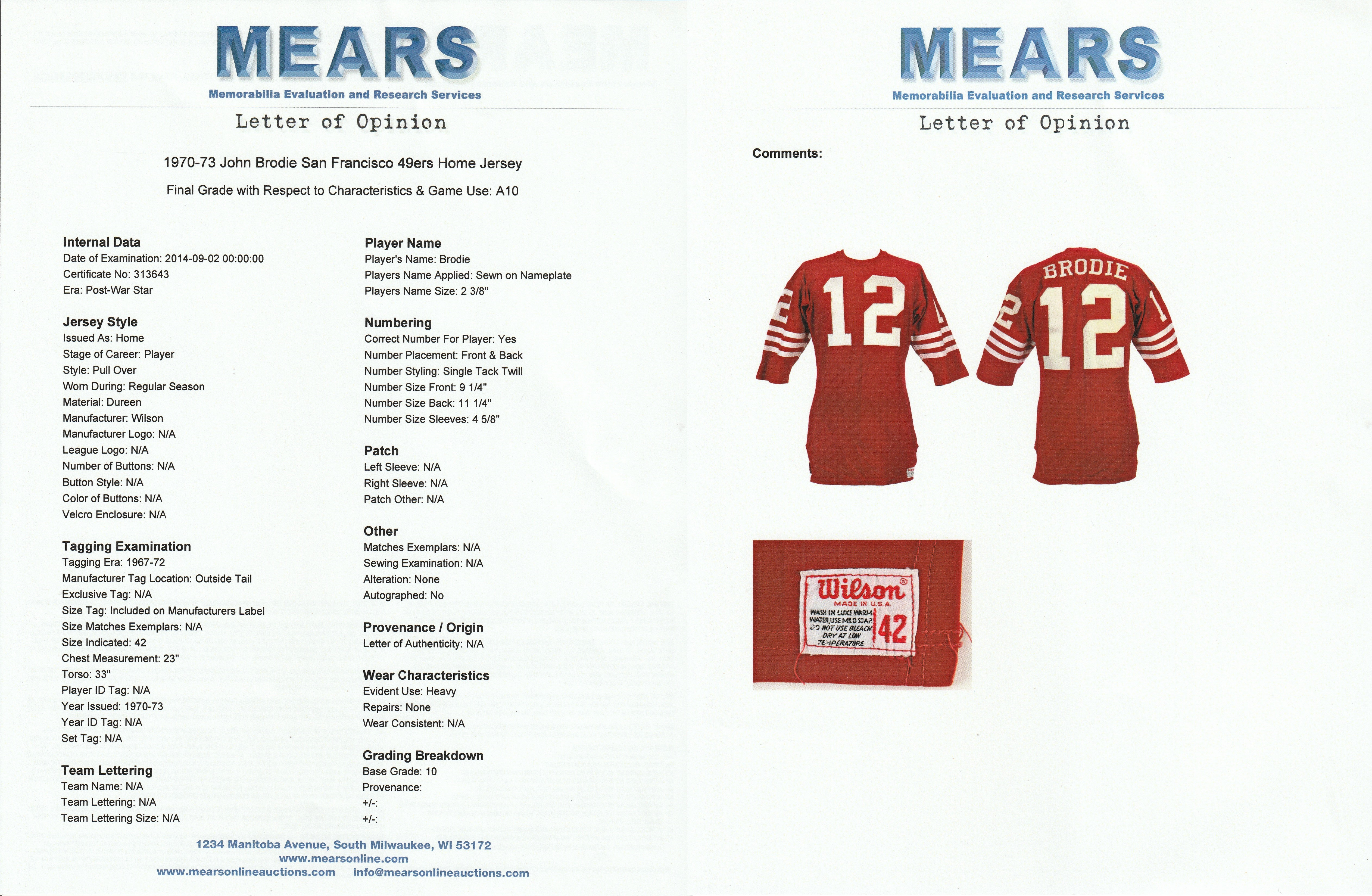 a6d5ebbc120 ... John Brodie San Francisco 49ers Home Jersey (MEARS A10). Prev Next