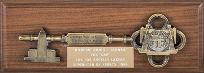 "Key To The City Of Los Angeles Presented To ""The Cap"" Kareem Abdul-Jabbar By Mayor Tom Bradley In Presentation Box (Abdul-Jabbar LOA)"