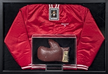Muhammad Ali Signed Training Jacket & Inscribed Boxing Glove Used In Preparation for Fight with Joe Frazier Gifted To Kareem Abdul-Jabbar In 42x29 Framed Display (Abdul-Jabbar LOA & PSA/DNA)