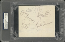 Rock Holy Grail:The Beatles And Mick Jagger Signed Note Book Page (PSA/DNA)