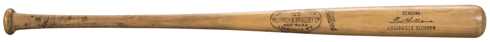 1955-57 Ted Williams Game Used and Signed Louisville Slugger W183 Model Bat (PSA/DNA GU 9, JSA & Beckett)