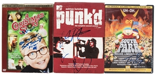 "Lot of (3) Signed DVDs Including Trey Parker ""South Park"", Scott Schwartz ""A Christmas Story"", & Ashton Kutcher & Wilmer Valderrama ""punkd"" (Beckett)"