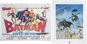 Lot of (2) Batman Single/Multi Signed Posters Including Cast Signed Movie Poster With 7 Signatures & Bob Kane Signed Litho (Beckett)