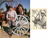 Lot of (2) Clint Walker & Clayton Moore Single Signed & Inscribed Photos (Beckett)