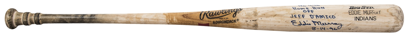 1995-96 Eddie Murray Game Used, Signed & Inscribed Rawlings 456A Model Bat Used To Hit Career Home Run #496 On 8/14/96 (PSA/DNA GU 10, Beckett & Murray LOA)