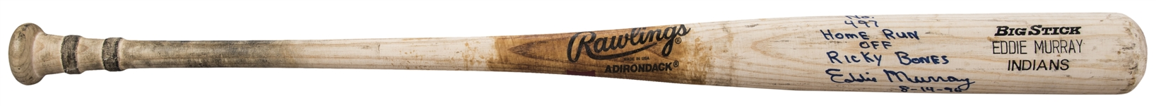 1995-96 Eddie Murray Game Used, Signed & Inscribed Rawlings 456A Model Bat Used To Hit Career Home Run #497 On 8/14/96 (PSA/DNA GU 10, Beckett & Murray LOA)