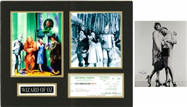 Lot of (2) Jack Haley Signed Check With Wizard of Oz Photos In 20x16 Matted Display & Tony Curtis Signed Photo (Beckett)