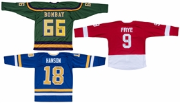 Lot of (3) Movie Celebrities Signed Custom Jerseys: Emilio Estevez, Hanson/Carlson/Carlson & Ruck (Schwartz)