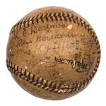 1918 Cincinnati Reds & Detroit Tigers Multi Signed Baseball With 29 Signatures Including Mathewson & Cobb (JSA)