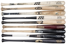 Lot of (9) Chicago Cubs Game Used Bats Used By 2016 World Series Game 7 Starting Lineup (Rizzo Signed) (MLB Authenticated, PSA/DNA & Beckett)