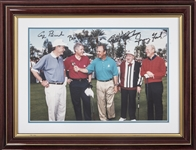 Presidents George Bush, Bill Clinton & Gerald Ford and Bob Hope Multi Signed Photo In 17x13 Framed Display From Dick Enberg Collection (Letter of Provenance & Beckett PreCert)