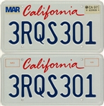 Tupac Shakur Rolls Royce California License Plates and Registration (Letter of Provenance)