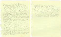 "Tupac Shakur ""Souljahs Revenge"" Hand Written Lyrics - 2 Pages (JSA)"
