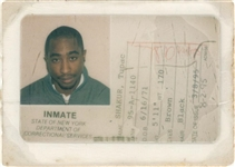 Tupac Shakurs New York Department Of Corrections Prison ID Card
