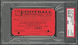 1941 Brooklyn Dodgers Football Press Pass- Only One Graded! (PSA)