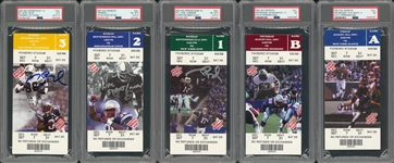 2001 Tom Brady Rookie Season Complete Set of New England Patriots Home Game Tickets Including 3 Signed (PSA/DNA & Tristar)