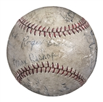 1929 World Series Champions Philadelphia Athletics Team Signed Baseball With 12 Signatures Including Foxx, Cochrane, and Mack (JSA)