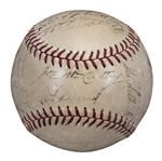 1937 World Series Champions New York Yankees Team Signed OAL Harridge Baseball With 26 Signatures Including Dickey, Lazzeri, and Gehrig (JSA)
