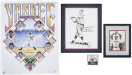 Lot of (4) Hall of Famers Signed Lot Including Joe DiMaggio & Ted Williams Lithographs, Willie Mays Baseball & Satchel Paige Photo (PSA/DNA & JSA)