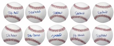 Lot of (10) Stan Musial Signed Official MLB Baseballs (PSA/DNA)