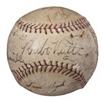 Circa 1934-1936 New York Yankees & St. Louis Cardinals Multi Signed Baseball With Ruth, Gehrig & Maranville (JSA)