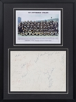 1973 Pittsburgh Steelers Team Signed Page With Photo In 18x24 Framed Display (JSA)