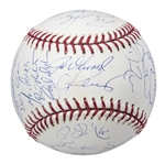 2008 New York Yankees Team Signed OML Selig Baseball With 29 Signatures (MLB Authenticated & Steiner)