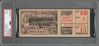 "1911 Yale vs Princeton Full Ticket From 11/18/1911 - PSA GOOD 2 ""1 of 1!"""