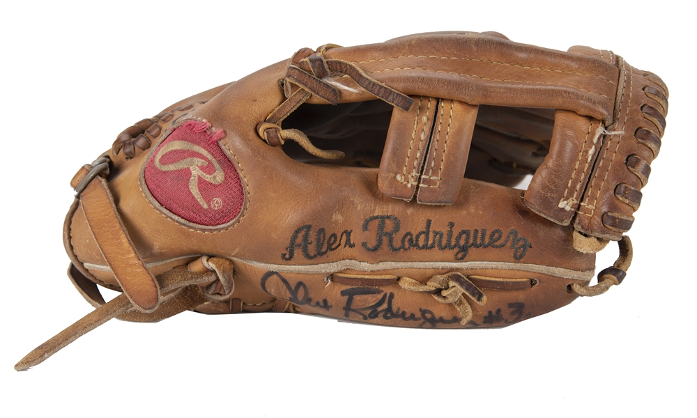 2003 Alex Rodriguez Game Used, Signed & Inscribed Rawlings PRO-6HF Model Glove Used For Every Game Of The Season - 1st MVP Season! (PSA/DNA & Beckett)