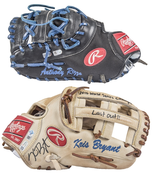 Cubs History Made! Kris Bryant & Anthony Rizzo World Series Game Used & Signed Pair of Rawlings Fielders Glove Used For Game 7 Final Out (MLB Authenticated & Fanatics)