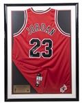 Michael Jordan Signed Chicago Bulls Road Jersey With Mr. June Patch In 32x42 Framed Display -307/323 (UDA)