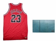 Michael Jordan Signed Chicago Bulls Jersey & Piece of Game Used Floor From NBA Finals - LE 214/230 (UDA)