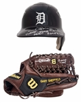 Lot of (2) Gary Sheffield Game Used & Signed Detroit Tigers Batting Helmet & Wilson Fielders Glove (PSA/DNA & Beckett)